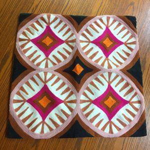West Elm Pillow Cover Crewel Boho Geometric India Cotton